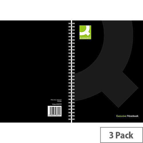 Q-Connect A4 Wirebound Book Black 3 Pack KF03727