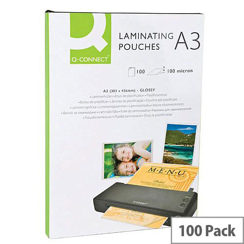 Q-Connect Laminating Pouch 200 microns A3 (Pack of 100) KF04123