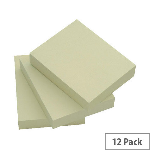 Q Connect Quick Note Repositionable Pad 38x51mm Yellow Pack 12