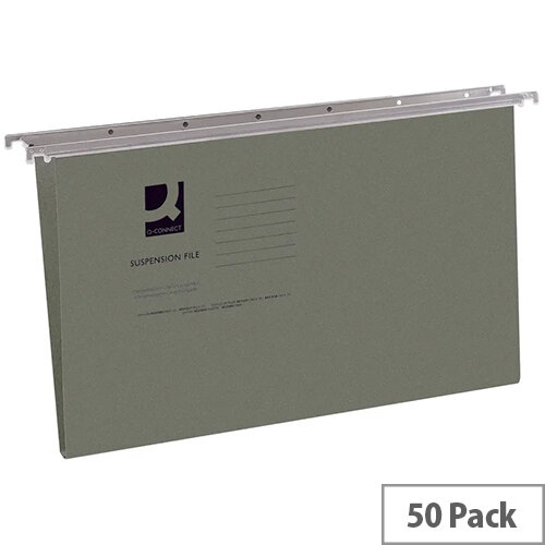 Q-Connect Suspension File Tabbed Foolscap Pack of 50 KF21001 - Files - Suspension Filing - Durable heavyweight manilla - Front opening - Easy access