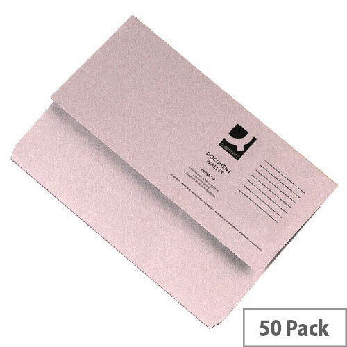 Document Wallet Half Flap Foolscap Buff Pack 50 Q-Connect
