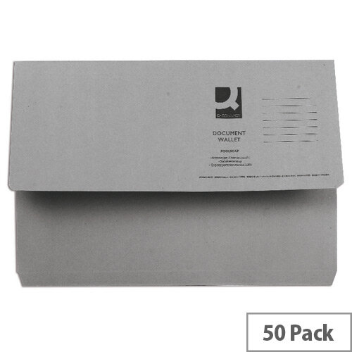 Document Wallet Half Flap Foolscap Grey Pack 50 Q-Connect