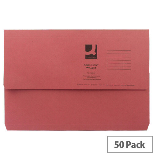 Document Wallet Half Flap Foolscap Red Pack 50 Q Connect, High Capacity Up To 300 Sheets, Environmentally Friendly, Multipurpose Storage