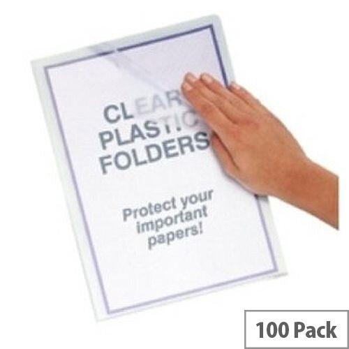 Q-Connect Plastic Cut Flush Folder A4 Clear Pack 100