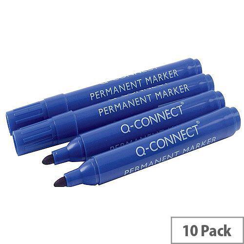 Q-Connect Permanent Marker Bullet Tip Blue Pack 10