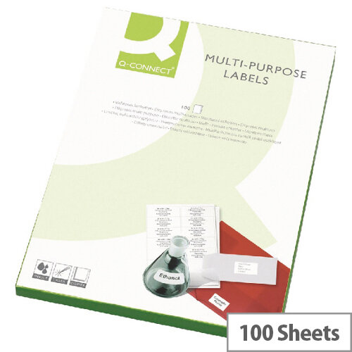 Q-Connect 18 Per Sheet Multi-Purpose Labels 63.5x46.5mm (1800 Labels)