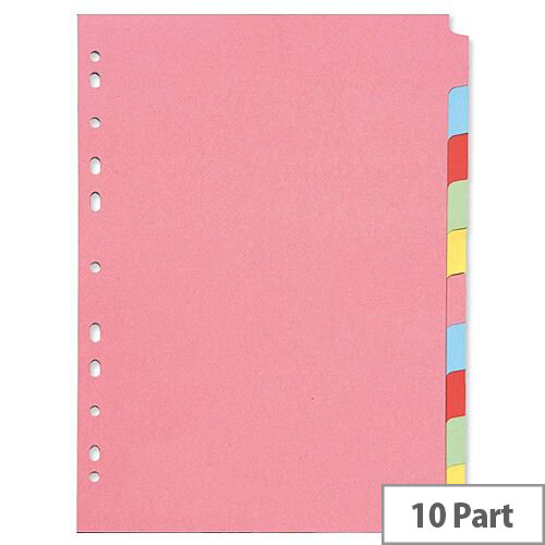 Q-Connect A4 Subject Divider Multi-Punched 10 Part – Eco-Friendly, Customise, Colour-Coded, Fits Standard A4 Binders &Ideal for Home/Office (KF26082)