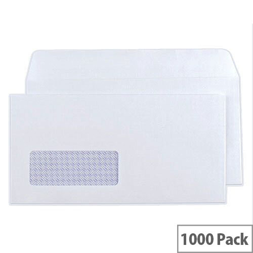 Q-Connect Envelope DL Low Window 80gsm White Self-Seal Pack 1000 KF3455