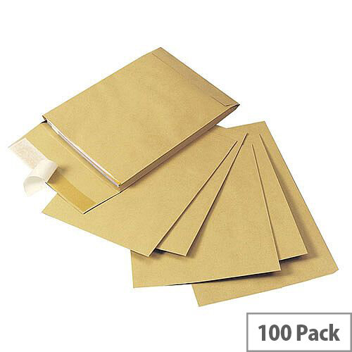 Q-Connect Gusset 120gsm Envelope C4x25mm Manilla Peel and Seal Pack of 100 KF3527
