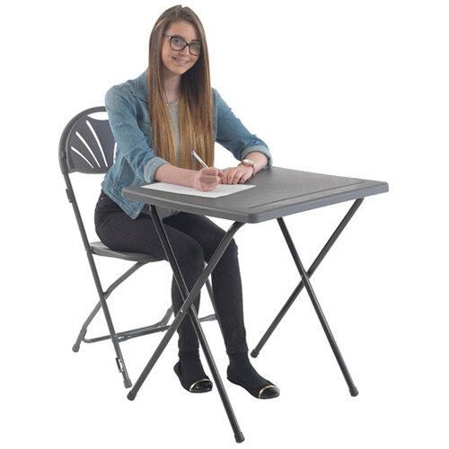 Jemini Folding Exam Desk Polypropylene Charcoal KF78653