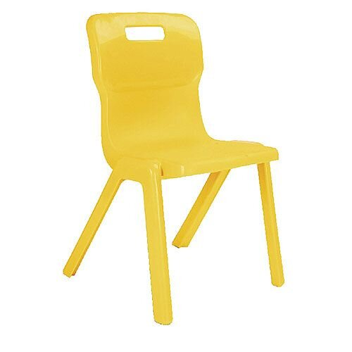 Titan One Piece School Chair Size 5 430mm Yellow Pack of 10