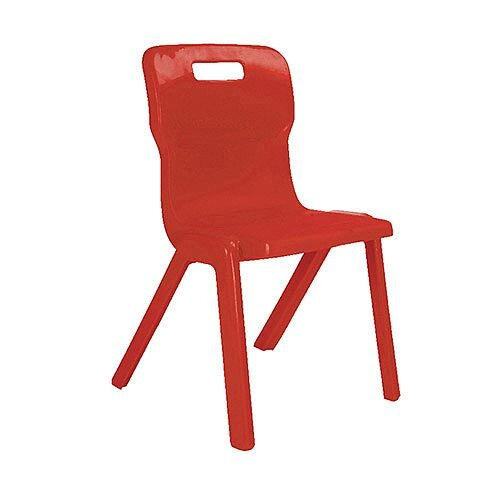 Titan One Piece School Chair Size 4 380mm Red Pack of 10