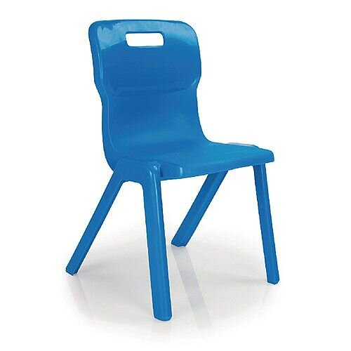 Titan One Piece School Chair Size 4 380mm Blue Pack of 10