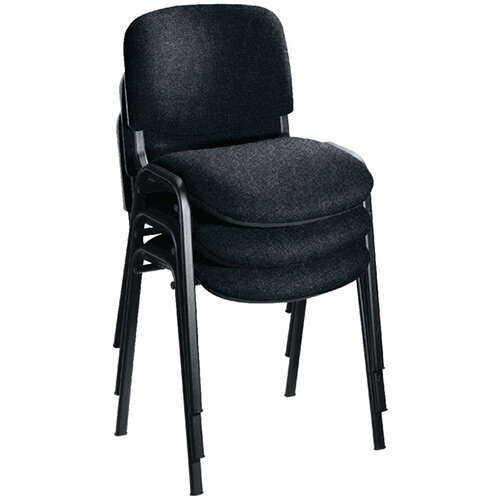 First Ultra Multi Purpose Stacking Chair Charcoal Fabric &Black Metal Frame KF98505
