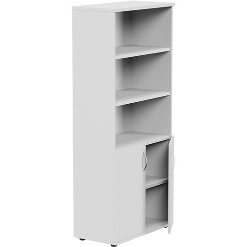 Tall Cupboard Part-Open Lockable Bottom Doors W800xD420xH1850mm White Kito