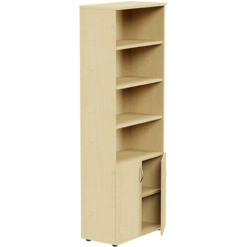 Tall Cupboard Part-Open Lockable Bottom Doors W800xD420xH2210mm Maple Kito