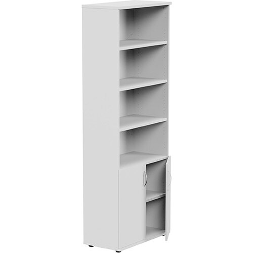 Tall Cupboard Part-Open Lockable Bottom Doors W800xD420xH2210mm White Kito