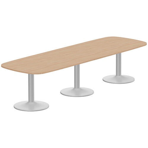 Kito W3200mmxD1200mm Beech Rounded Edge Rectangular Boardroom Table With Silver Triple Cylinder Base - 10-12 Person Seating Capacity