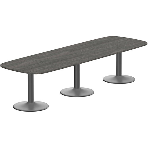 Kito W3200mmxD1200mm Carbon Walnut Rounded Edge Rectangular Boardroom Table With Anthracite Triple Cylinder Base - 10-12 Person Seating Capacity