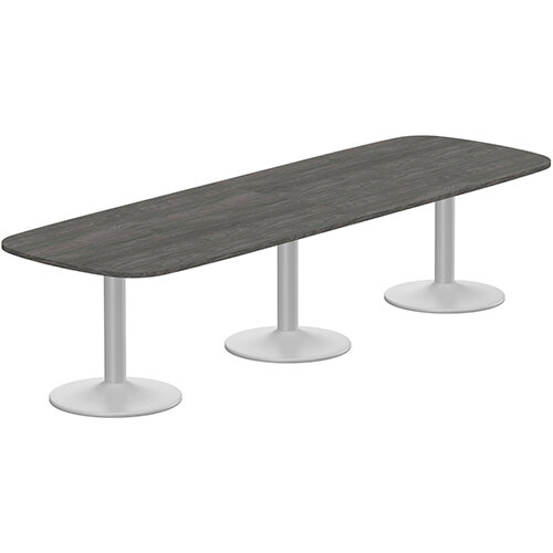Kito W3200mmxD1200mm Carbon Walnut Rounded Edge Rectangular Boardroom Table With Silver Triple Cylinder Base - 10-12 Person Seating Capacity
