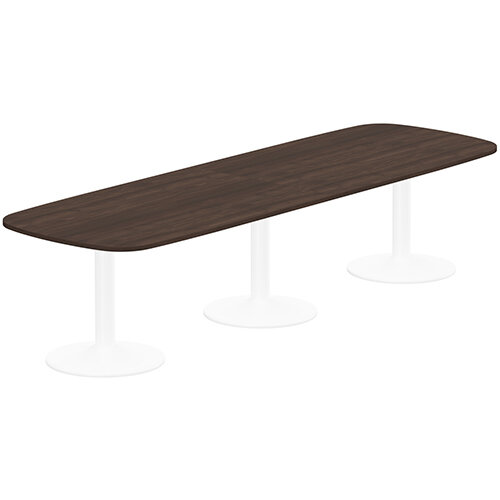 Kito W3200mmxD1200mm Dark Walnut  Rounded Edge Rectangular Boardroom Table With White Triple Cylinder Base - 10-12 Person Seating Capacity