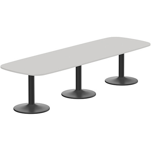 Kito W3200mmxD1200mm Grey Rounded Edge Rectangular Boardroom Table With Black Triple Cylinder Base - 10-12 Person Seating Capacity