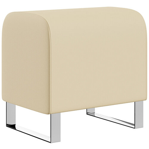 SIGMA MODULAR Soft Seating Pouffe With Cantilever Chrome Legs - Genuine Leather Upholstery