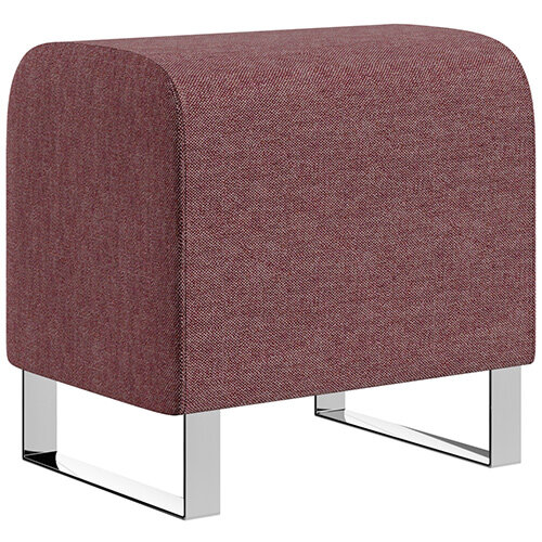 SIGMA MODULAR Soft Seating Pouffe With Cantilever Chrome Legs - RIVET Fabric