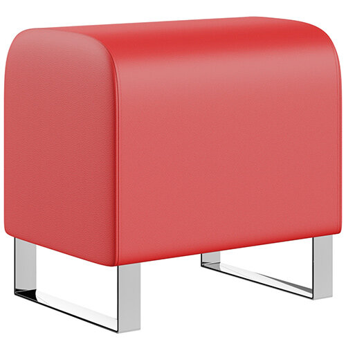 SIGMA MODULAR Soft Seating Pouffe With Cantilever Chrome Legs - LOTUS Leather-Look Upholstery