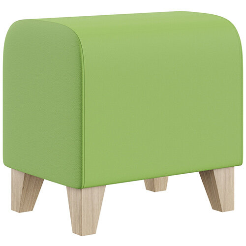 SIGMA MODULAR Soft Seating Pouffe With Trapezoid Wooden Legs - VALENCIA Leather-Look Upholstery