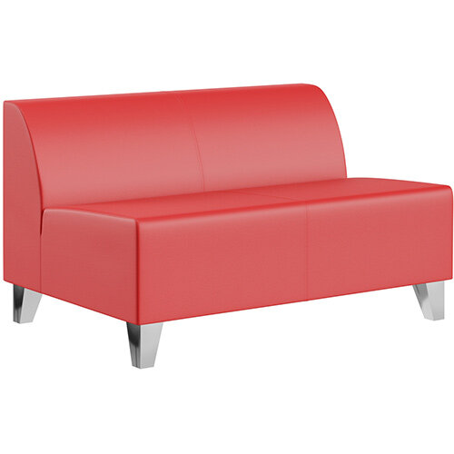 SIGMA MODULAR Soft Seating 2 Seater Unit With Trapezoid Chrome Effect Legs - LOTUS Leather-Look Upholstery