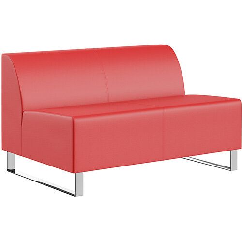 SIGMA MODULAR Soft Seating 2 Seater Unit With Cantilever Chrome Legs - LOTUS Leather-Look Upholstery