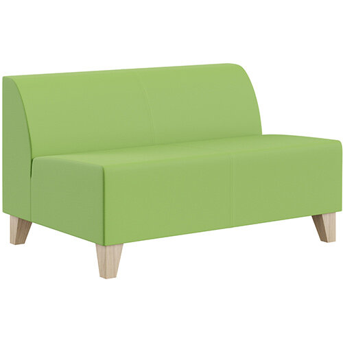 SIGMA MODULAR Soft Seating 2 Seater Unit With Trapezoid Wooden Legs - VALENCIA Leather-Look Upholstery