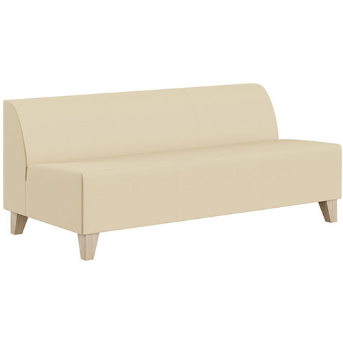 SIGMA MODULAR Soft Seating 3 Seater Unit With Trapezoid Wooden Legs - Genuine Leather Upholstery