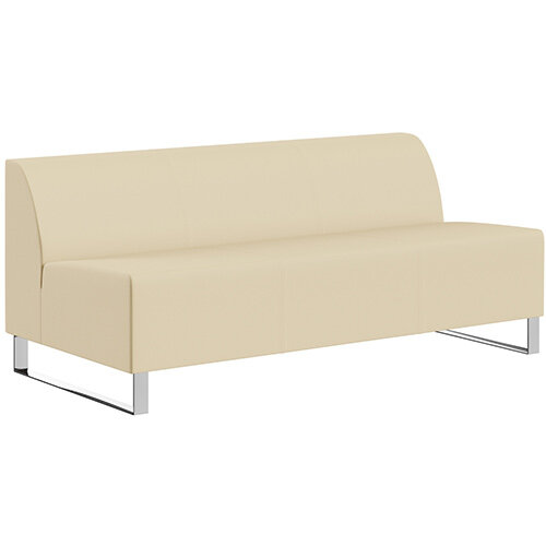 SIGMA MODULAR Soft Seating 3 Seater Unit With Cantilever Chrome Legs - Genuine Leather Upholstery