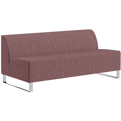 SIGMA MODULAR Soft Seating 3 Seater Unit With Cantilever Chrome Legs - RIVET Fabric