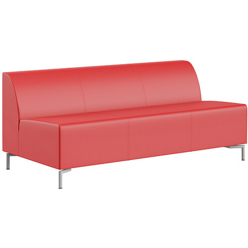 SIGMA MODULAR Soft Seating 3 Seater Unit With Standard Metal Legs - LOTUS Leather-Look Upholstery
