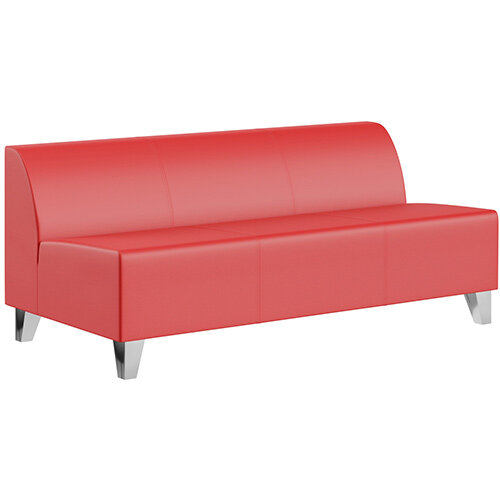SIGMA MODULAR Soft Seating 3 Seater Unit With Trapezoid Chrome Effect Legs - LOTUS Leather-Look Upholstery