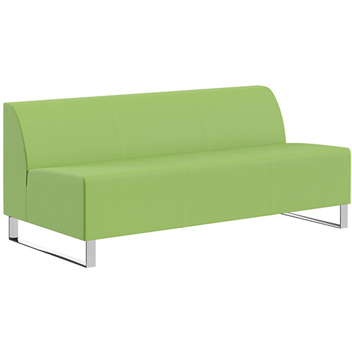 SIGMA MODULAR Soft Seating 3 Seater Unit With Cantilever Chrome Legs - VALENCIA Leather-Look Upholstery