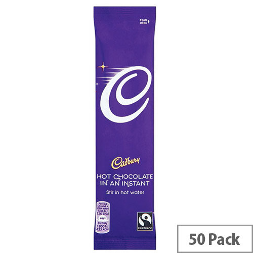 Cadbury Instant Hot Drinking Chocolate Powder Sachets 28g (50 Pack) 915654