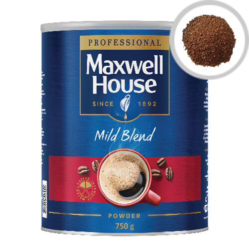 Maxwell House Mild Instant Coffee Powder 750g Tin Pack of 1 - Deliciously rich instant coffee - Just add boiling water for an easy drink