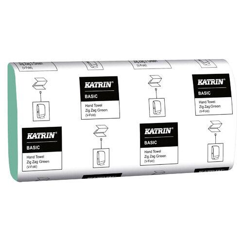 Katrin Basic Zig Zag Hand Towel 1-Ply Green 250 Sheets Pack of 20 100683
