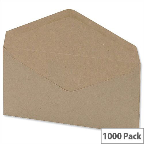 5 Star Office Envelopes Lightweight Banker Gummed Window Manilla DL 75gsm Pack of 1000