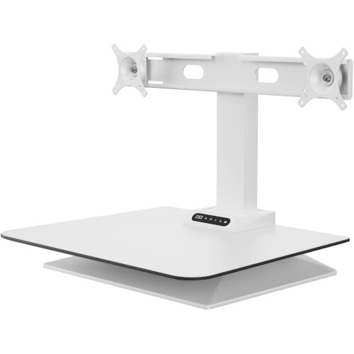 Leap Crossbar Sit-Stand Desk Converter for Dual Monitors White