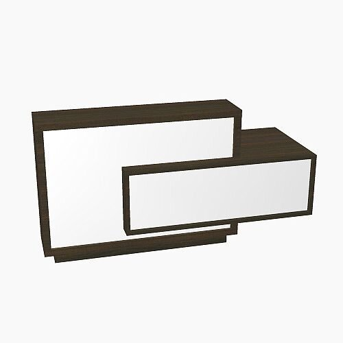 Foro Modern Design Reception Desk With High Gloss White Front and Chestnut Carcass &Left Low Level Section W2100mmxD800mmxH1100mm