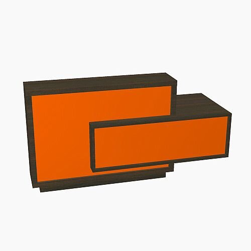 Foro Modern Design Reception Desk With High Gloss Orange Front and Chestnut Carcass &Left Low Level Section W2100mmxD800mmxH1100mm