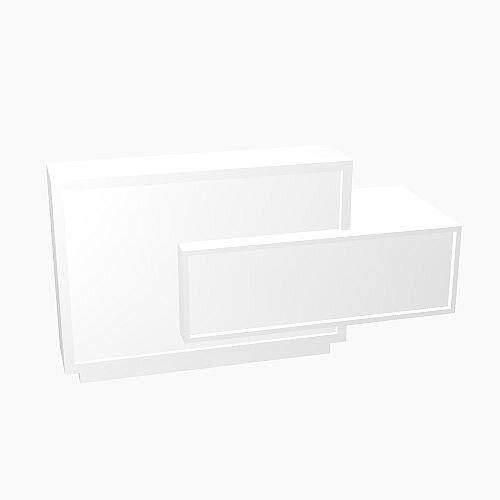 Foro Modern Design Reception Desk With High Gloss White Front and White Pastel Carcass &Left Low Level Section W2100mmxD800mmxH1100mm