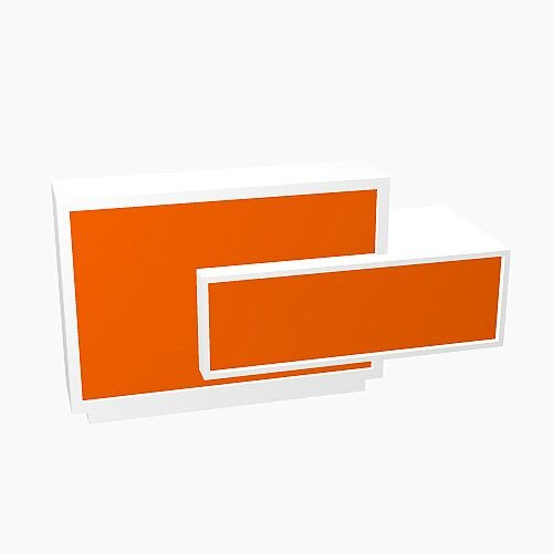 Foro Modern Design Reception Desk With High Gloss Orange Front and White Pastel Carcass &Left Low Level Section  W2100mmxD800mmxH1100mm