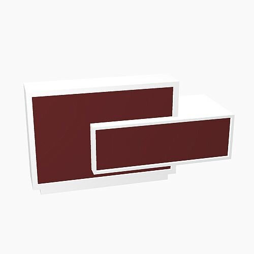 Foro Modern Design Reception Desk With High Gloss Burgundy Front and White Pastel Carcass &Left Low Level Section W2100mmxD800mmxH1100mm