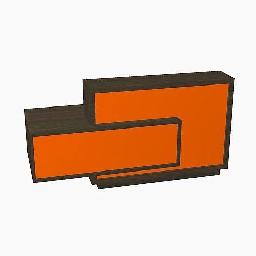 Foro Modern Design Reception Desk With High Gloss Orange Front and Chestnut Carcass &Right Low Level Section W2100mmxD800mmxH1100mm
